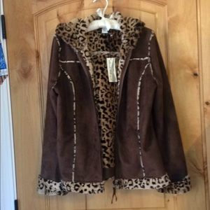 TELLURIDE CLOTHING CO Brown Faux Suede Leopard NWT